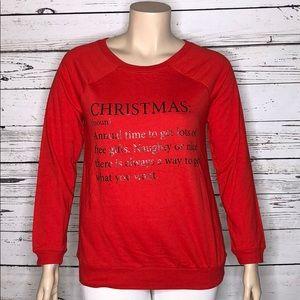 Deb NWT 1X Christmas (Noun) Definition Knit Top